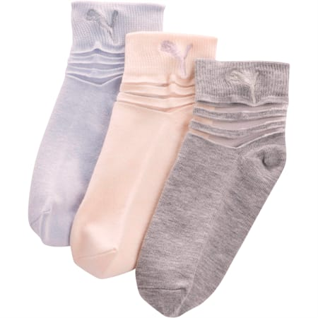 Girls' Non Terry Low Cut Socks [3 Pack], PASTEL COMBO, small